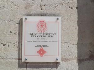 plaque église des cordeliers