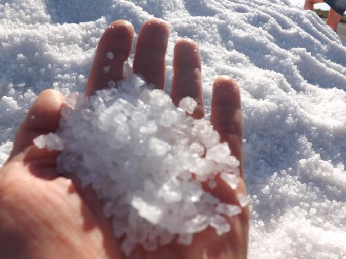 sel dans la main