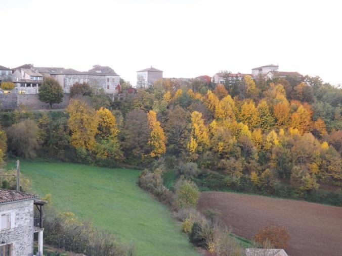feuillage d'automne sur le village de castelnau de montmiral