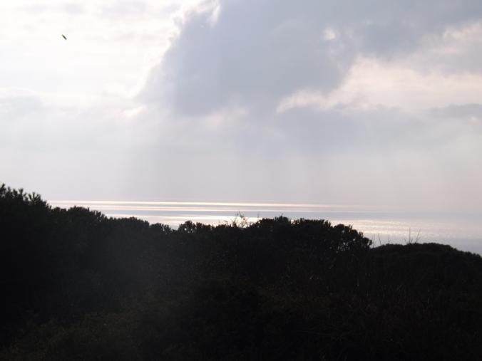 la mer vue depuis la table d'orientation de la forete de sete