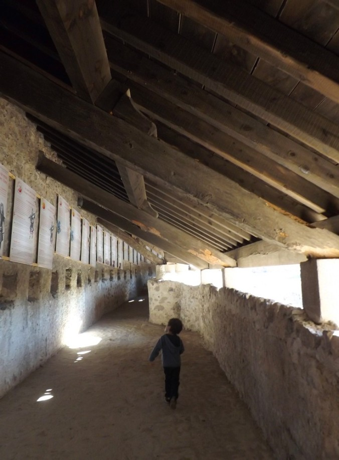 matthieu regardant les panneaux des personnages lies a la construction des remparts de villefranche de conflent