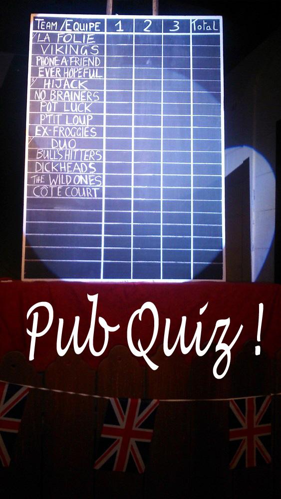 le tableau des scores sur la scene de l'Illustre Theatre pour le Peenas Pub Quiz - Copie