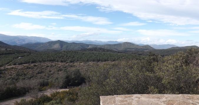 vue sur le parc naturel du haut languedoc depuis le moulin de faugères