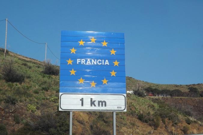 panneau frontiere espagnole a Port-Bou
