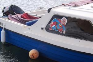 petit bateau sticker superman port de Bouzigues