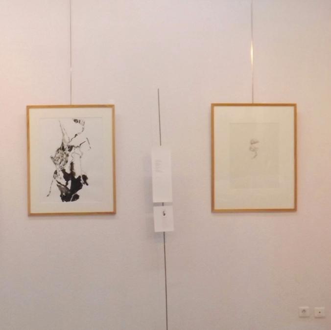 tableaux de Claude Eyraud et Alma Roccella et le poeme de Helene Mouraret expostiion Bord de l'autre