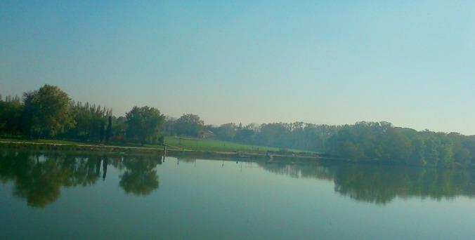 vue sur le rhone depuis le pont st benezet a Avignon